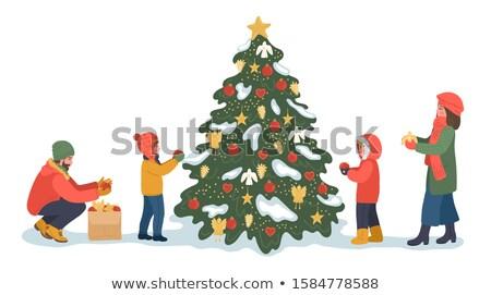 cute · retro · christmas · vrouw · decoratie · geïsoleerd - stockfoto © lordalea