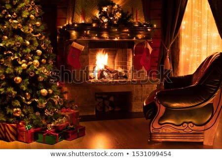 Christmas and Fire Place Stock photo © Trigem4