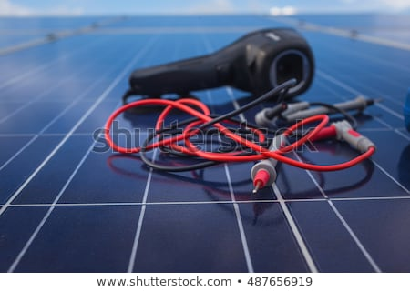 Solar cells and ratchet wrench Stock photo © visdia