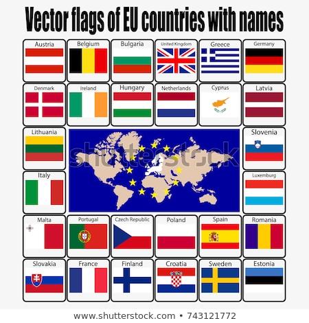 Zdjęcia stock: Zestaw · flagi · eu · kraje · mapie · świata · świecie