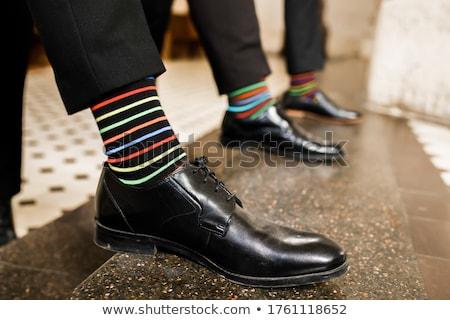 Gestreept sokken geïsoleerd mode oranje witte Stockfoto © alexandkz