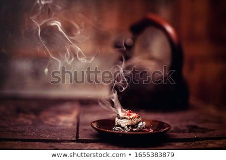 Incienso humo negro fuego diseno fondo Foto stock © smithore