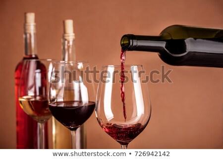 aumentó · vino · tinto · botella · más · vidrio · guitarra - foto stock © pedromonteiro
