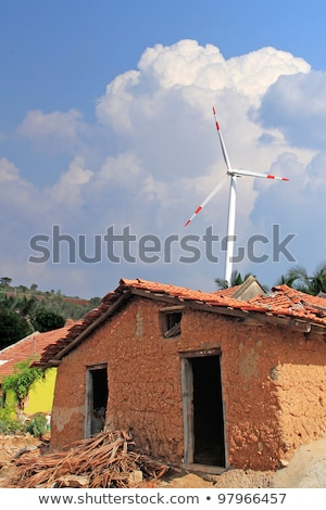 vieux · boue · maison · rural · Inde · vent - photo stock © mnsanthoshkumar