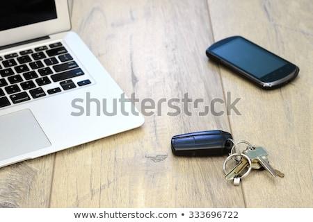Munkahely irodai asztal fekete óra idő dolgozik Stock fotó © kitch