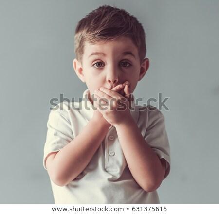 Jeunes garçon bouche mains Photo stock © Freshdmedia