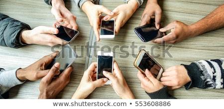 Mobiltelefon 4g rajzolt fehér kréta fából készült Stock fotó © bbbar