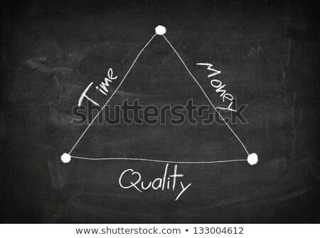 Foto stock: Time Is Money Handwritten With White Chalk On A Blackboard