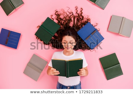 lovely schoolgirl with pink hair Stock photo © dolgachov