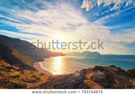 Noite mar costa cena rochas em pé Foto stock © filmstroem