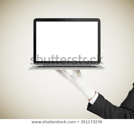 Waiter holding laptop Stock photo © photography33