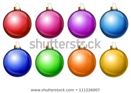 illusztrált · szatén · befejezés · karácsony · golyók - stock fotó © komodoempire