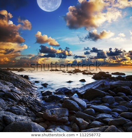 full moon seascape long exposue shot square composition stock photo © moses