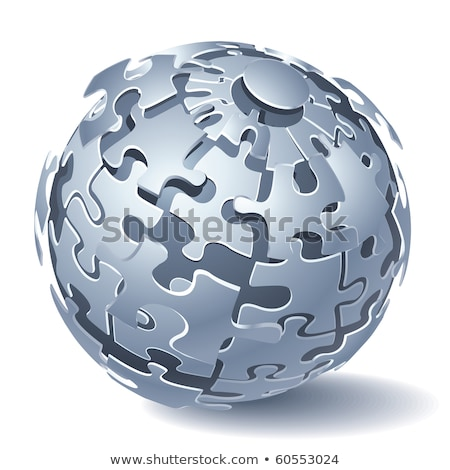 Jigsaw puzzle sphere. Dynamic Explosion. Vector illustration Stock photo © fixer00