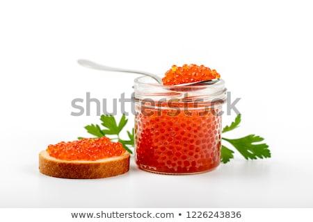 Red caviar Salmon roe in glass jar stock photo © ozaiachin