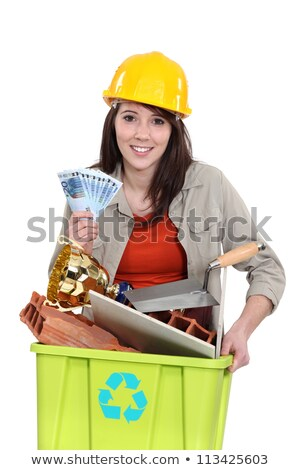 A tradeswoman holding a recycling bin and a wad of cash Stock photo © photography33