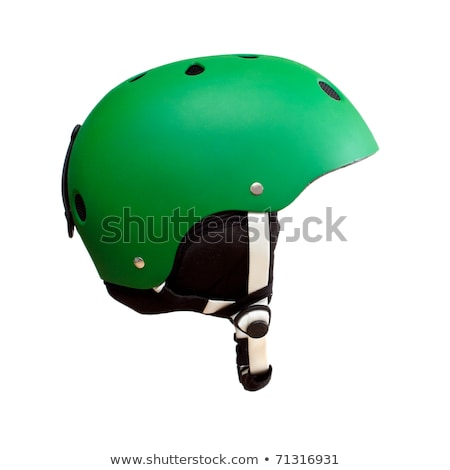 Green ski helmet isolated on a white. Stock photo © shutswis