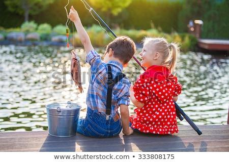Descalzo pesca joven corriente bosques Foto stock © tab62
