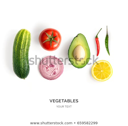 Pepper, tomatos and cucumber isolated on white background Stock photo © vaeenma
