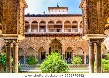Real Alcazar Courtyard in Seville Stock photo © rognar