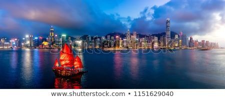 noite · panorâmico · ver · Hong · Kong · negócio · céu - foto stock © pazham
