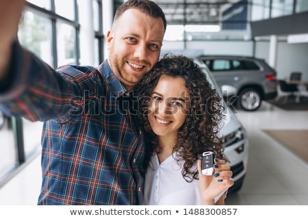 счастливым · женщину · ключами · фотография · белый · улыбка - Сток-фото © dolgachov