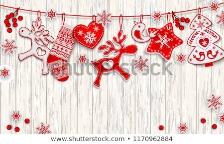Рождества · снега · гирлянда · оленей · дизайна · красоту - Сток-фото © butenkow