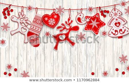 Noël · neige · guirlande · cerfs · design · beauté - photo stock © butenkow