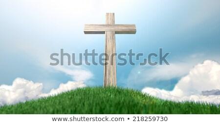 Blanche croix herbeux colline vert pierre Photo stock © alex_grichenko
