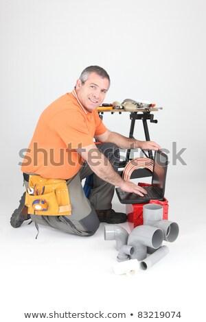 Vízvezetékszerelő szerszámok anyag térdel laptop számítógép üzlet Stock fotó © photography33
