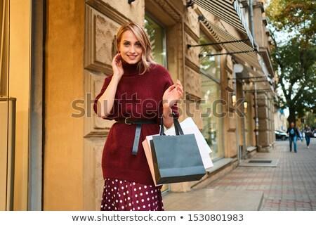 loiro · bolsa · de · compras · branco · mulher · moda - foto stock © justinb