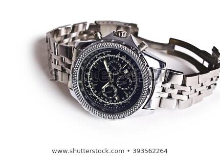 zwarte · leder · witte · goud · horloge - stockfoto © justinb