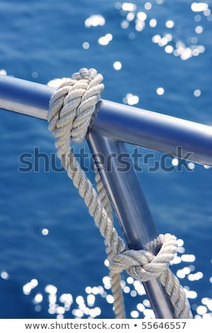 marine knot detail on stainless steel boat railing Stock photo © lunamarina