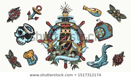 Zdjęcia stock: Marynarz · rekina · ryb · zabawy · usta · zęby