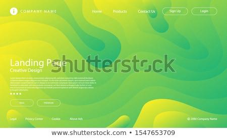 波 抽象的な 3D 緑 黄色 行 ストックフォト © magraphics