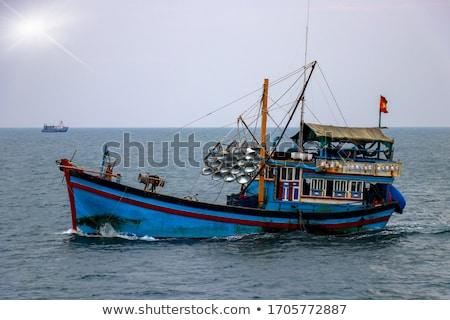tropisch · strand · landschap · vissersboot · oceaan · kust · blauwe · hemel - stockfoto © hofmeester