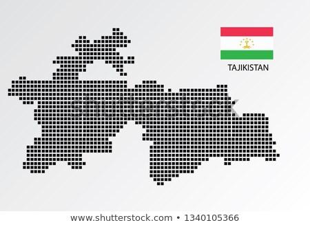 красочный Таджикистан карта административный город силуэта Сток-фото © Volina