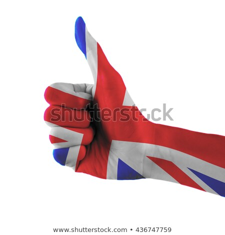 united kingdom national flag thumb up gesture for excellence and stock photo © vepar5