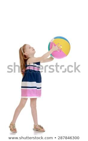 Feliz bela mulher bola de praia branco mulher Foto stock © pxhidalgo