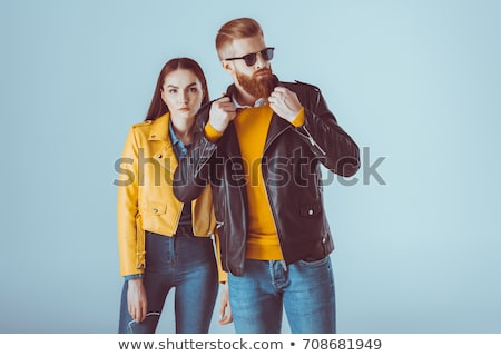 amour · couple · cuir · vêtements · mode · posent - photo stock © feedough