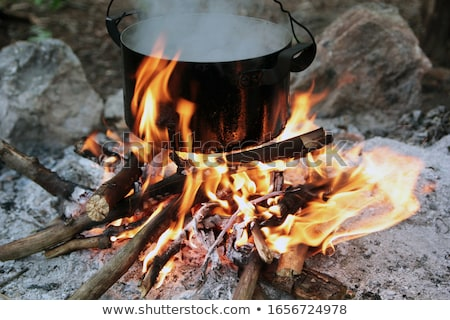 kettle over campfire stock photo © wellphoto