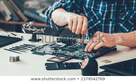 carte · mère · électronique · ingénieur · regarder · loupe - photo stock © simpson33