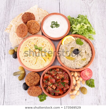 hummus, falafel and others mezze Stock photo © M-studio