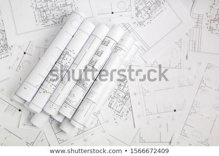 építkezés · rajz · ceruza · számológép · ház · munka - stock fotó © Kurhan