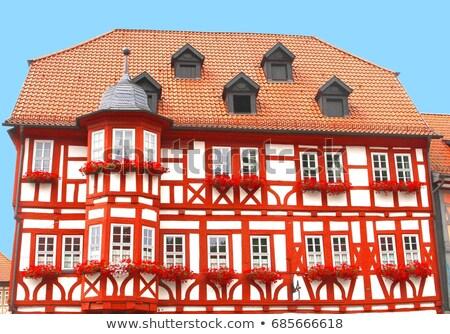 Hermosa decorado casa balcón viviendas municipal Foto stock © meinzahn