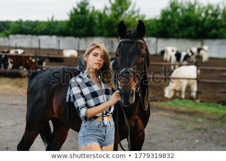 Girl in stable Stock photo © boggy