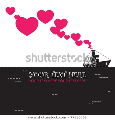 Foto stock: Buque · de · vapor · corazones · barco · amor · día · de · san · valentín · resumen