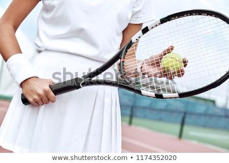 kész · női · teniszező · ütő · teniszlabda · sport - stock fotó © bmonteny
