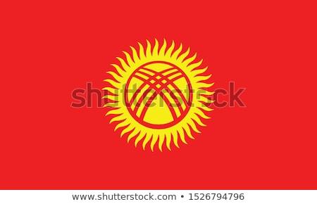 Vlag Kirgizië geïsoleerd witte wereld aarde Stockfoto © konturvid