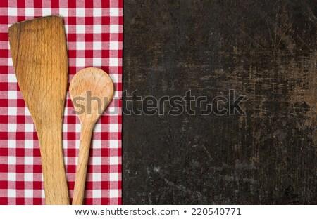 kırmızı · beyaz · masa · örtüsü · ahşap · masa · çerçeve · mutfak - stok fotoğraf © zerbor